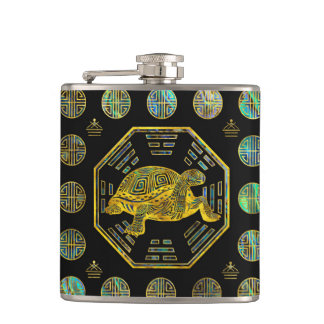 Golden Tortoise / Turtle Feng Shui Abalone Shell Hip Flask