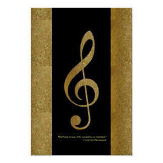golden treble clef musical note decor poster