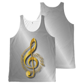 Golden Treble Clef With Notes And Shadows All-Over-Print Tank Top