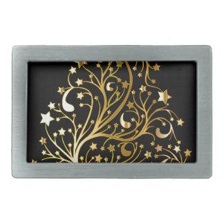 Golden tree design rectangular belt buckle