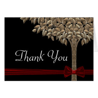 Golden Tree With Red Ribbon & Bow Thank You Card