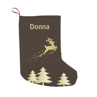 Golden Tree with Reindeer - Christmas Stocking