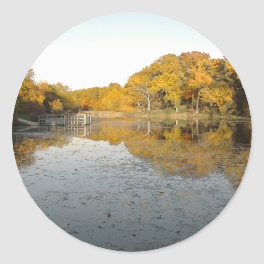 Golden Trees And Pond Classic Round Sticker