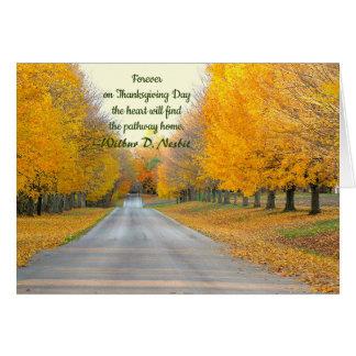 GOLDEN TREES LINING ROADWAY/THANKSGIVING CARD/CUST CARD
