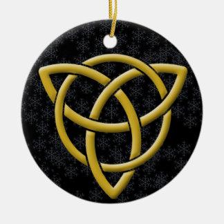 Golden Tri-Quatra on Snowflakes & Calssic Black Ceramic Ornament