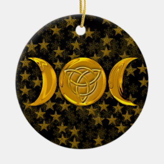 Golden Triple Moon Tri-Quatra Snowflakes & Stars Round Ceramic Ornament