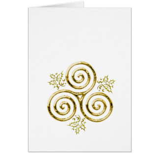 Golden Triple Spiral & Holly Leaves on White Card