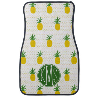 Golden Tropical Pineapples | Monogram Auto Mat
