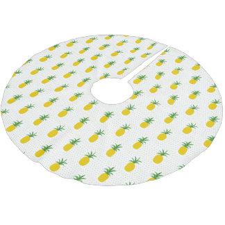 Golden Tropical Pineapples   Monogram Brushed Polyester Tree Skirt