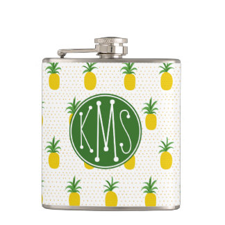 Golden Tropical Pineapples | Monogram Hip Flask