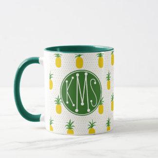Golden Tropical Pineapples | Monogram Mug