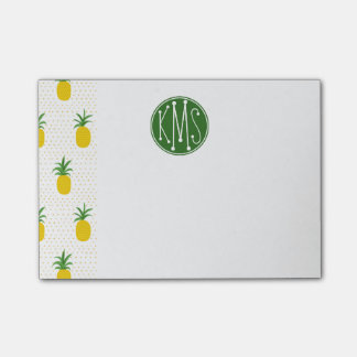 Golden Tropical Pineapples | Monogram Post-it® Notes