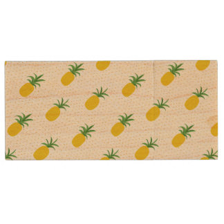 Golden Tropical Pineapples Wood USB 2.0 Flash Drive