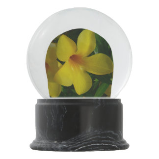 Golden Trumpet Flowers II Tropical Floral Snow Globe