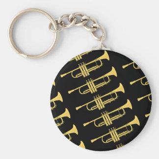 Golden Trumpet Music Theme Keychain