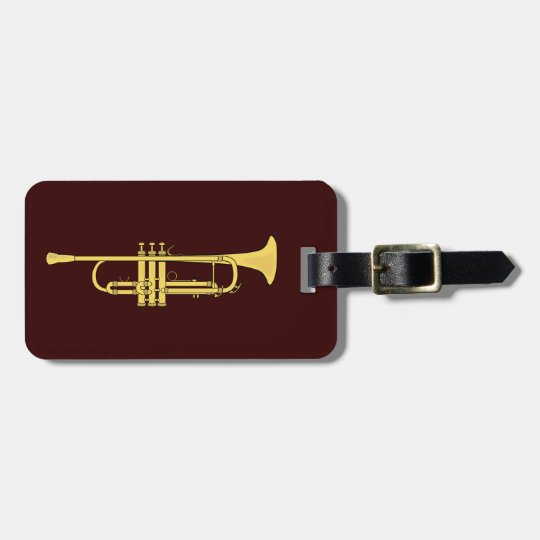 Golden Trumpet Music Theme Luggage Tag