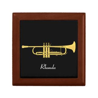 Golden Trumpet Music Theme Trinket Box