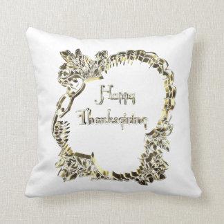 Golden Turkey Happy Thanksgiving Typography Throw Pillow