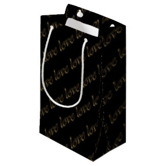 Golden Typography Gold Text Shiny Elegant Love Small Gift Bag