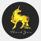 Golden Unicorn Hearts Stars Thank Crystal Black Classic Round Sticker