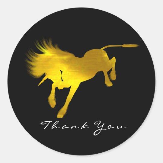 Golden Unicorn Horse Stars Thank You Black Classic Round Sticker