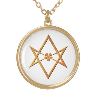 Golden Unicursal Hexagram - thelemic symbol Gold Plated Necklace