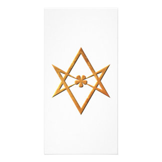 Golden Unicursal Hexagram - thelemic symbol Personalized Photo Card