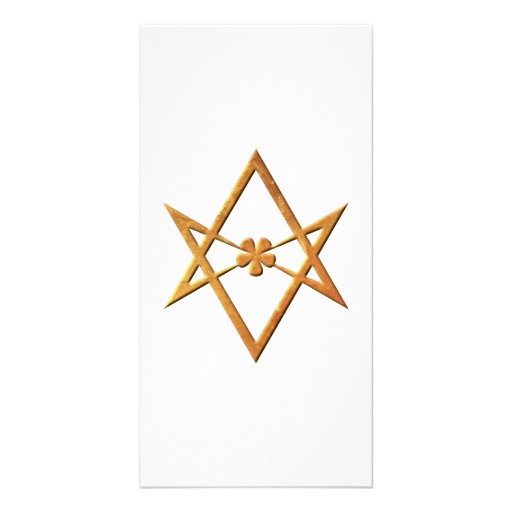 Golden Unicursal Hexagram - thelemic symbol Photo Card