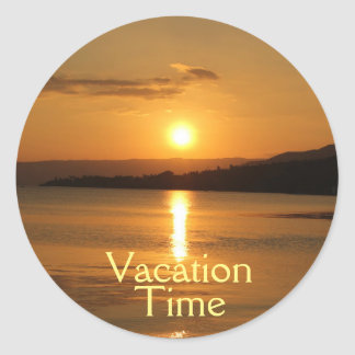 Golden Vacation Time Classic Round Sticker