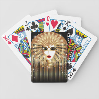 Golden Venice Carnival Party Mask Bicycle Playing Cards