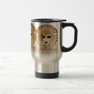 Golden Venice Carnival Party Mask Travel Mug