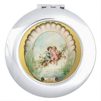 Golden Victorian Angelic Cherubs Compact Mirror