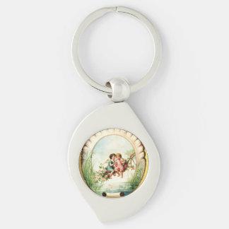 Golden Victorian Angelic Cherubs Silver-Colored Swirl Keychain