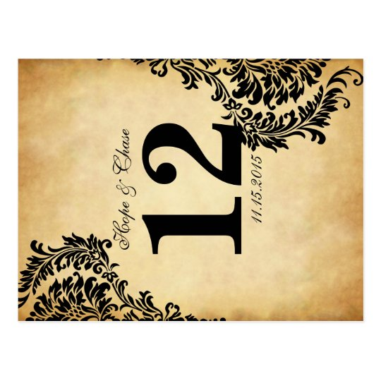 Golden Vintage Black Damask Table Number Cards