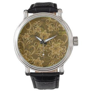 Golden vintage floral pattern wrist watch