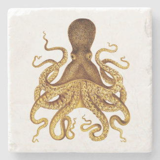 Golden Vintage Octopus Illustration Stone Coaster