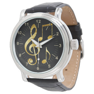 Golden violin key notes watch