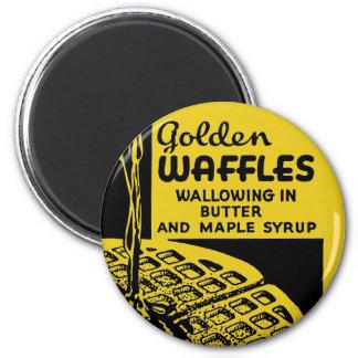 Golden Waffles Breakfast 2 Inch Round Magnet