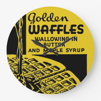 Golden Waffles Breakfast Large Clock