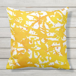 Golden Watercolor Acrylic Abstract Outdoor Pillow