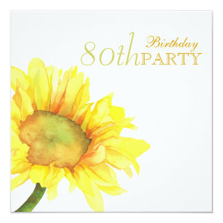"Golden Watercolor Sunflowers 80th Birthday Party 5.25"" Square Invitation Card"