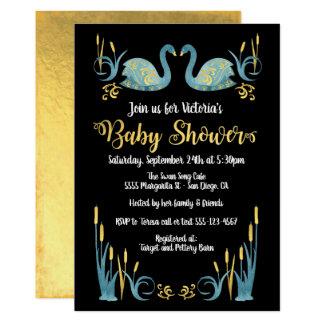 Golden watercolor Swans Baby Shower Invitation