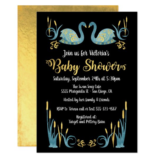 Golden watercolor Swans Baby Shower Invitation