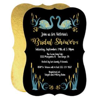Golden watercolor Swans Bridal Shower Invitation