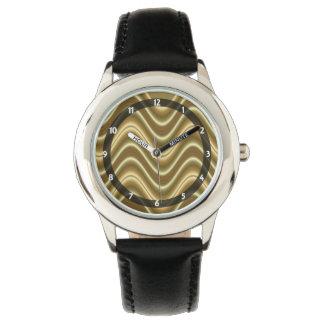 golden wave pattern wrist watch