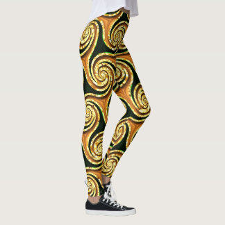 Golden waves swirls classy elegant Leggings