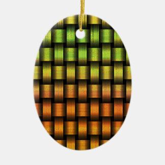 Golden Weave Ceramic Ornament