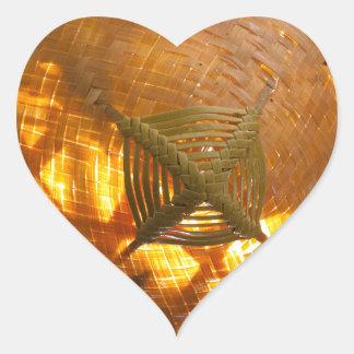Golden Weave Heart Sticker