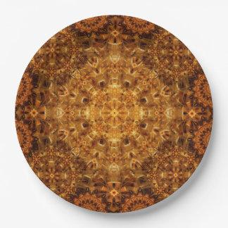 Golden Weave Mandala 9 Inch Paper Plate