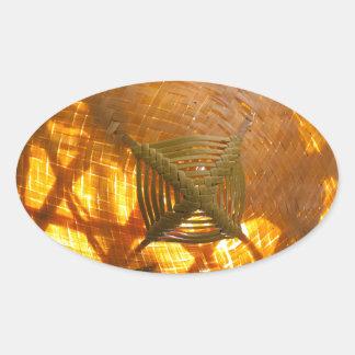 Golden Weave Oval Sticker
